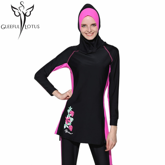 5874b28ba5 modest swimwear Islamic swimsuit full coverage bathing suits plus size  girls long sleeve swimsuits modest swimwear islam kids