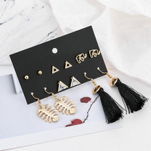 CXW New long fringe earrings set for women with 6 pairs of stylish triangular Bohemian earrings  wholesale S05