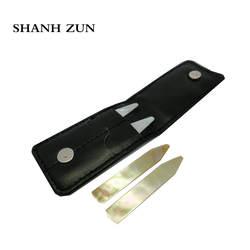SHANH Зун ручной полированной натуральный перламутр Shell воротник остается набор из 4 в черный кожаный бумажник