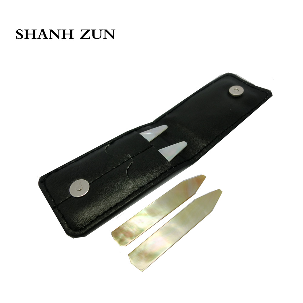 SHANH ZUN Handmade Polished Natural Mother-of-pearl Shell Collar Stays Pack Of 4 In Black Leather Wallet