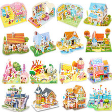 Attractive Cartoon Castle Garden Zoo Princess House 3D Puzzle Jigsaw Paper Model Learning Educational Toys For Children Kid Gift(China)
