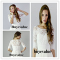 3/4 Sleeve Lace Ivory Shawl Bolero Wedding Jacket Bridal Shrug Wraps Custom Size T42