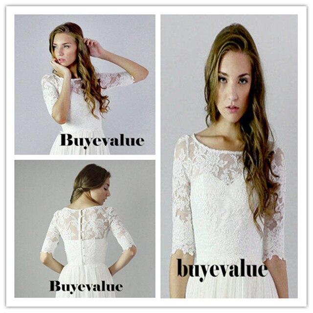 3/4 Sleeve Lace Ivory Shawl Bolero Wedding Jacket Bridal Shrug Wraps Custom Size T42