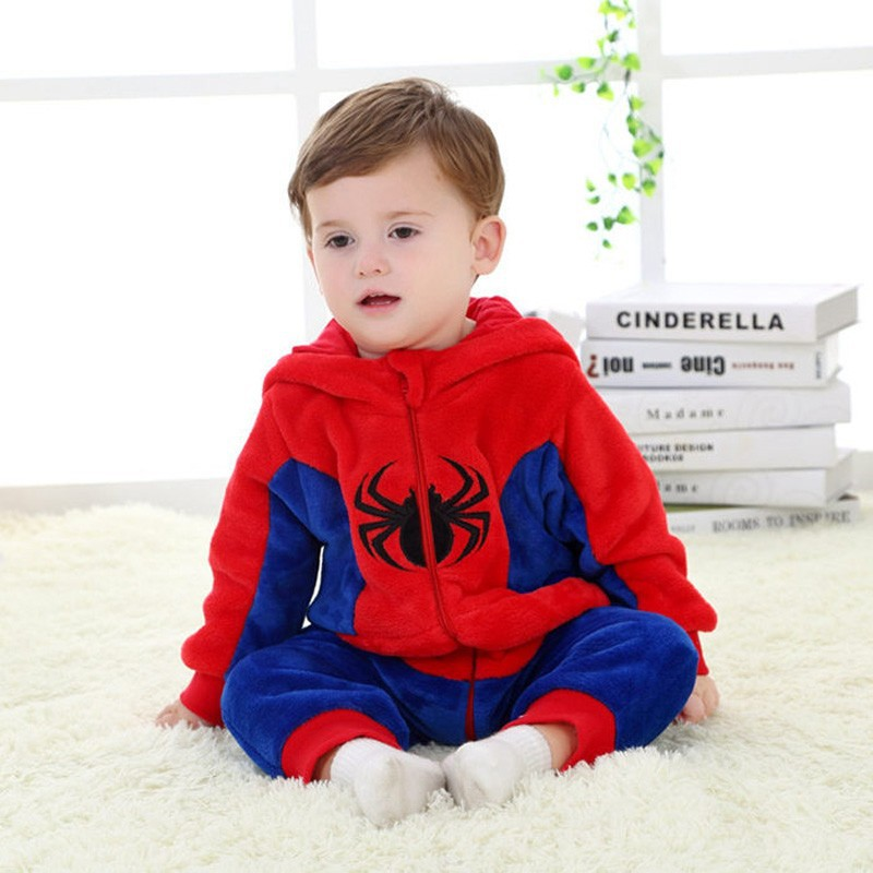 Spring and autumn baby boy clothes spiderman Captain America baby boy rompers Red Blue newborn clothes bodysuit one piece bebe