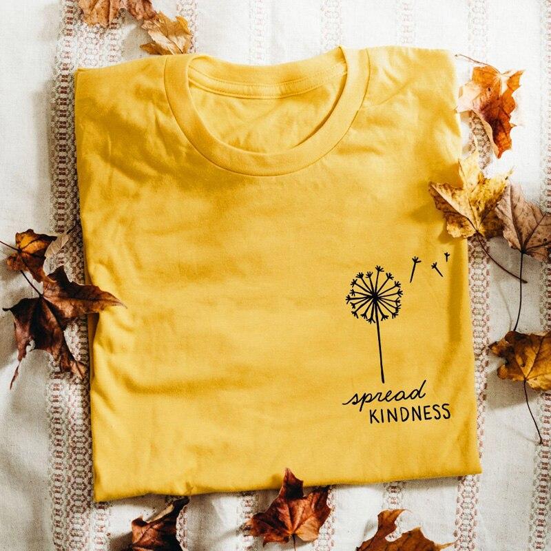 d33569745526 Espalhar Bondade Dandelion Inspirado Bolso Impresso T-shirt Do Verão Do  Vintage Gráfico Engraçado Camiseta