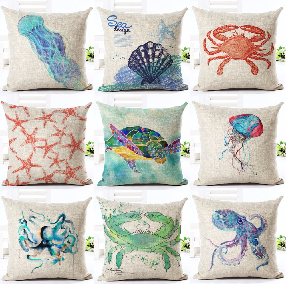 US $4 96 29% OFF|Watercolor Painting Sea Turtle Cushion Cover Conch Shell  Starfish Crab Octopus Cushion Covers Decorative Linen Pillow Case-in  Cushion