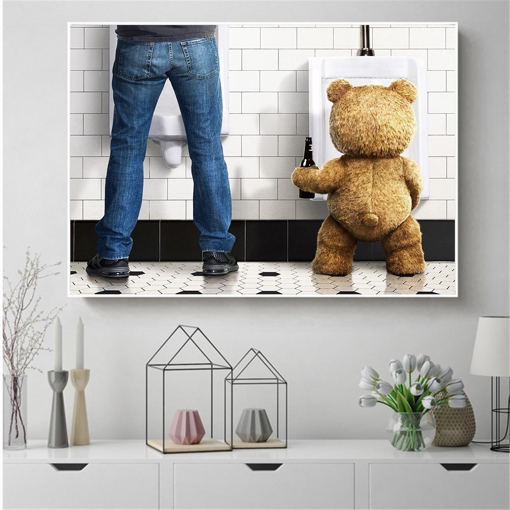 Teddy Bear Man In Toilet Poster Nordic