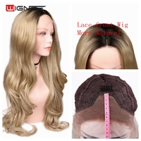 Wignee Swiss Lace Front Synthetic Wigs For Women Long Wavy Wig Natural Look Ombre Ash Blond/Pink Heat Resistant Cosplay Hair Wig