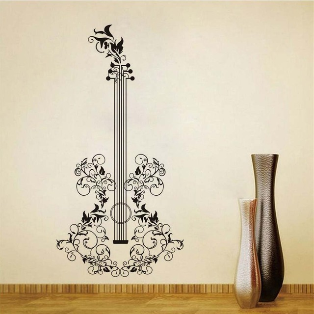Beautiful Self Adhesive Floral Art Guitar Wall Stickers For Kids Room Wall  Art Living Room Home