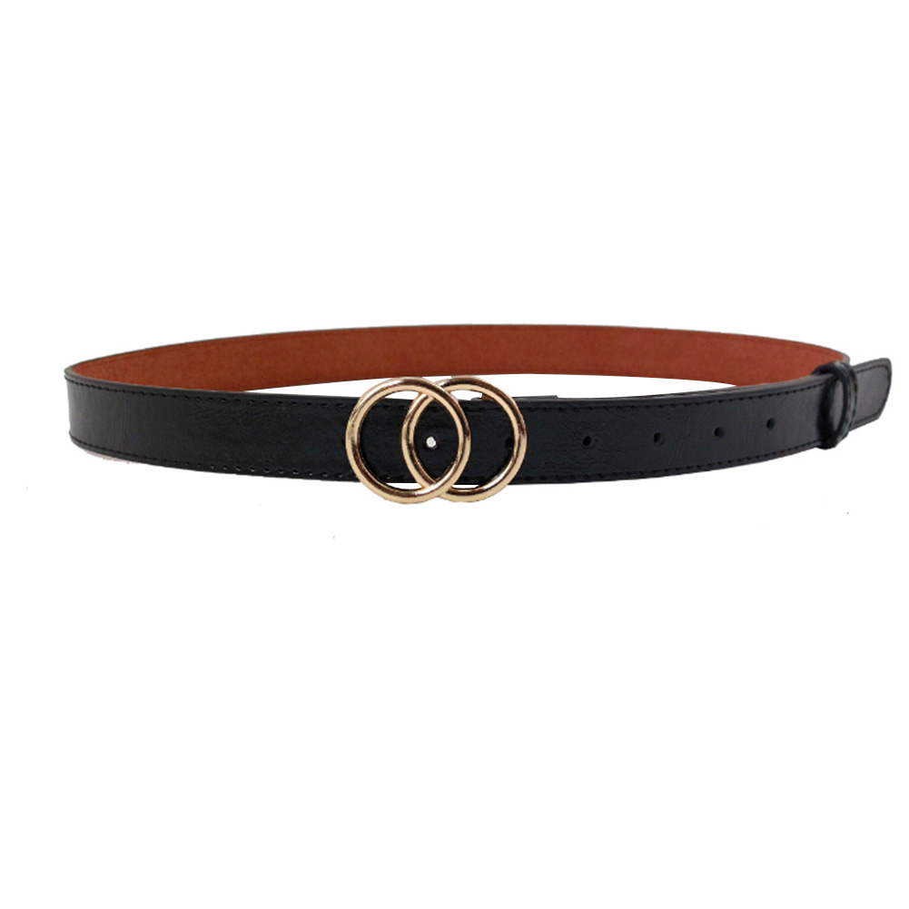 Soft Faux Leather Double Ring Belt Buckle for women 11