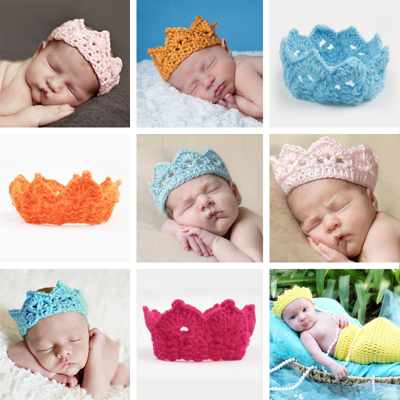 Clearance Knitting Crown Newborn Photography Props Cute Baby Caps Soft Baby Hat Baby Infant Headband Crochet Newborn Hats