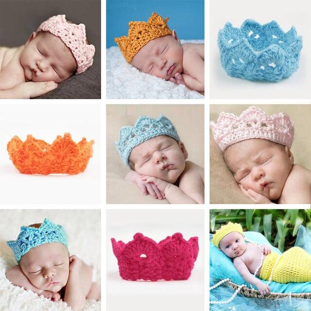 Clearance Knitting Crown Newborn Photography Props Cute Baby Caps Soft Baby  Hat Baby Infant Headband Crochet Newborn Hats de58112728d2