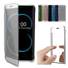 Фотография Flip Case for Samsung Galaxy S6 Edge Plus S7 Edge S8 Plus Visible Transparent Full Window Screen Cover Mirror Protector Hard PC
