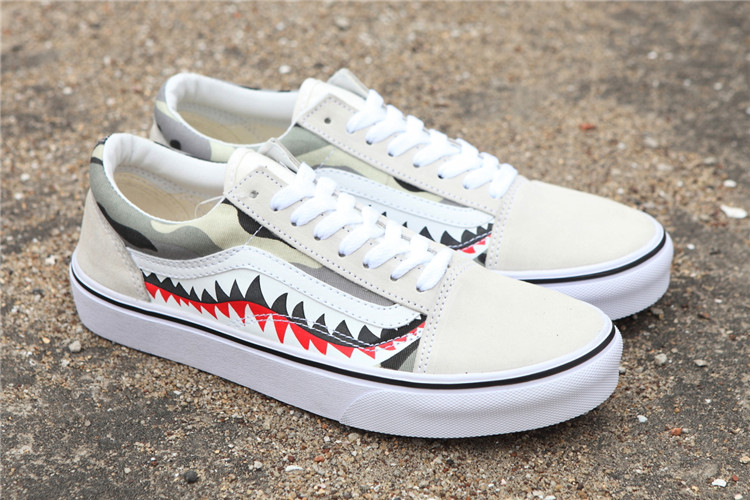 e52509f80bc VANS x BAPE 17SS SHARK MOUTHS Men and Womens Sneakers canvas shoes ...