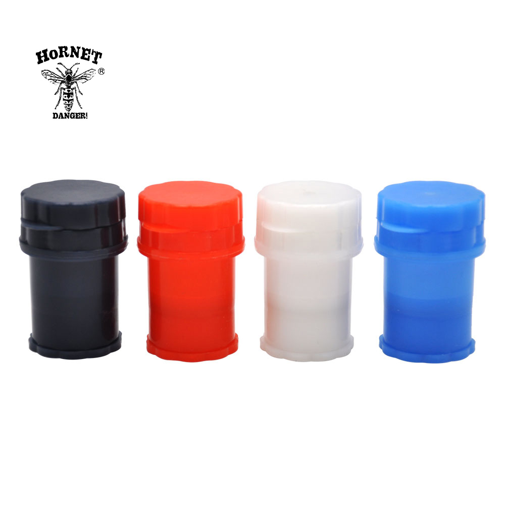 HORNET Hard Plastic Tobacco Herb Crusher Herbal Spice Grinder 4 Layers Herb Grinder With Pollen Catcher Can Tobacco Storage Case plastic