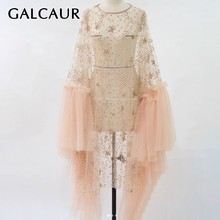 GALCAUR Sequined Patchwork Women Dress O Neck Flare Sleeve P