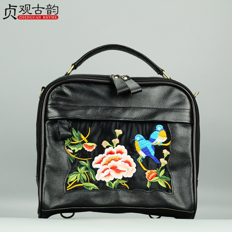 NoEnName New Sell Yunnan Technician National Retro Embroidery the First Layer Cowhide Ladies Backpacks Hot Sell Women Bags noenname