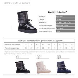 Image 5 - Botas de inverno sapatos mulher genuíno shearling snowboots preto branco azul 35 40 frete grátis bassiriana