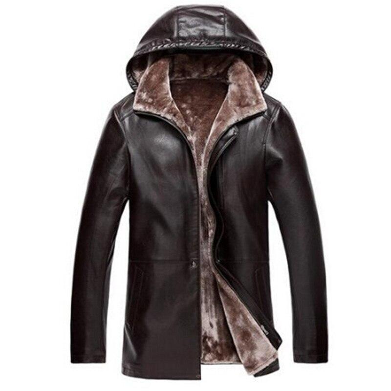Коричневая мужская кожаная куртка с капюшоном с меховой подкладкой Роскошная меховая одежда кожаная мужская деловая куртка зимнее длинное