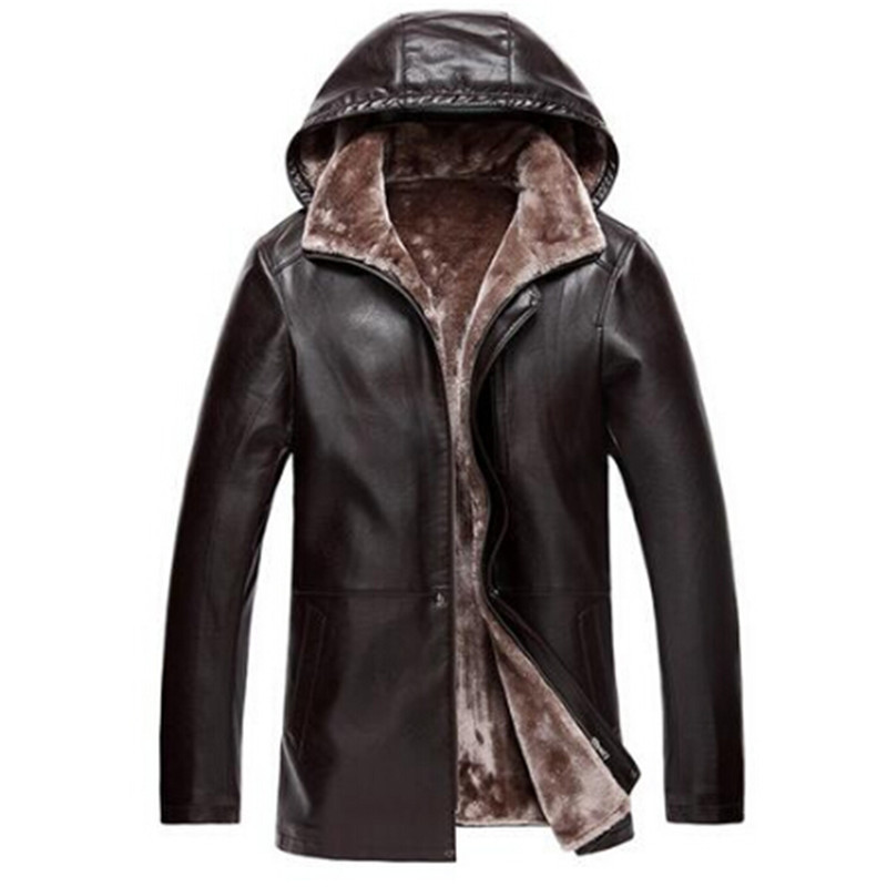 Brown Leather Jacket Mens Hooded Fur Lining Luxury Fur Clothing Leather Mens Business Jacket Winter Long Overcoat