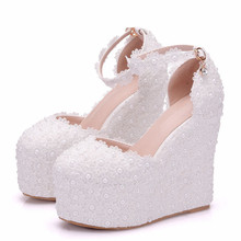 Size 33-41 Simple Wedges High Heel Shoes Women Round Toe Pumps Platform Office Shoes White Wedding Lace Beading Shoes XY-A0140 цены онлайн