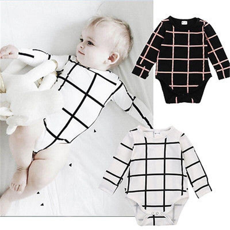 NewBaby 2017 Горячие Одежда для новорожденных мальчиков и девочек с длинным рукавом в клетку боди один штук свежий наряды Испания Россия