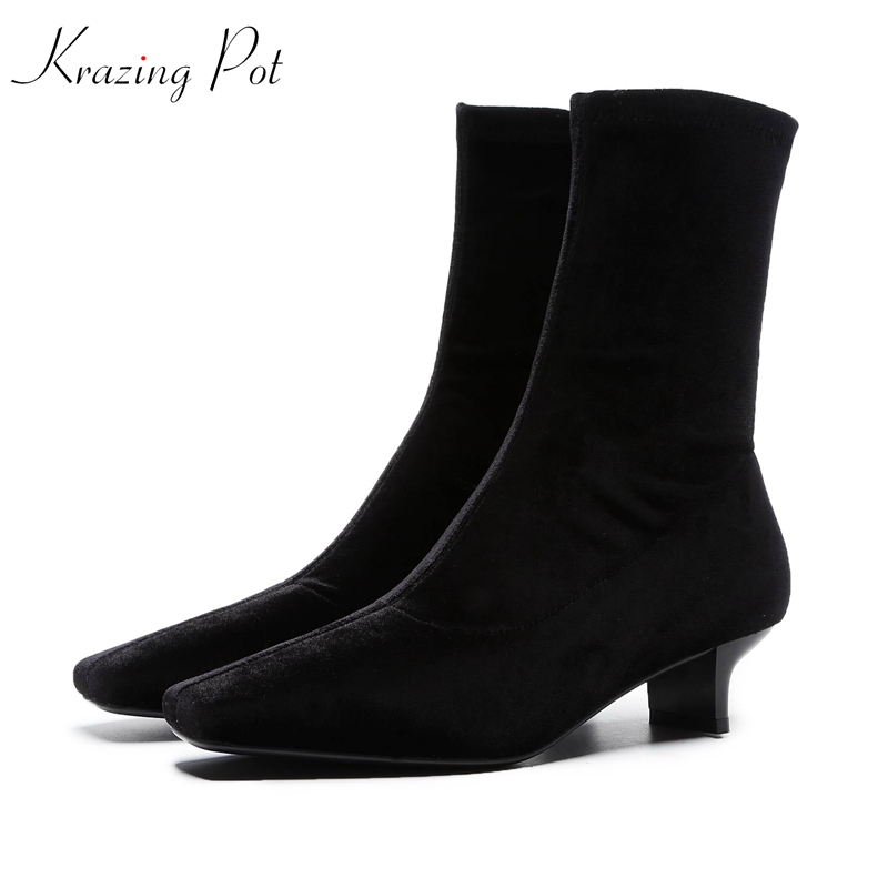 цена Krazing Pot velvet material decoration basic style stretch boots streetwear British square toe solid color women ankle boots L12