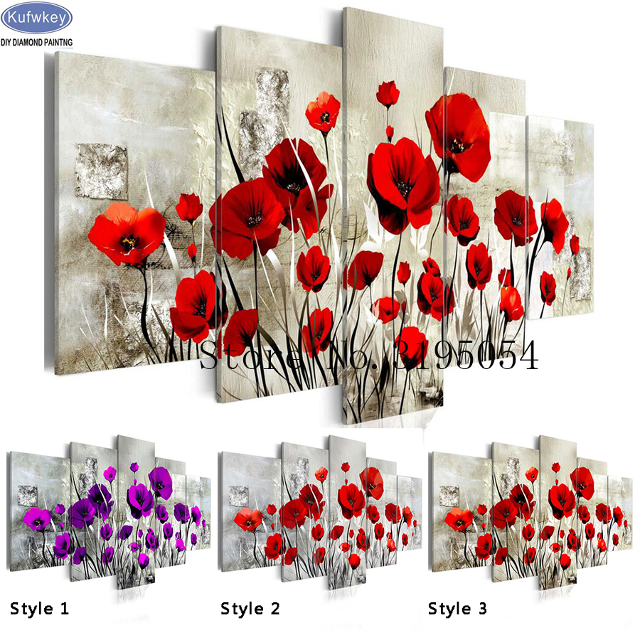 2018 DIY Diamond Painting Cross Stitch Kits Full Diamond Embroidery sale Poppy 5D Diamond Mosaic Home Decor Poppy Flower 5pcs