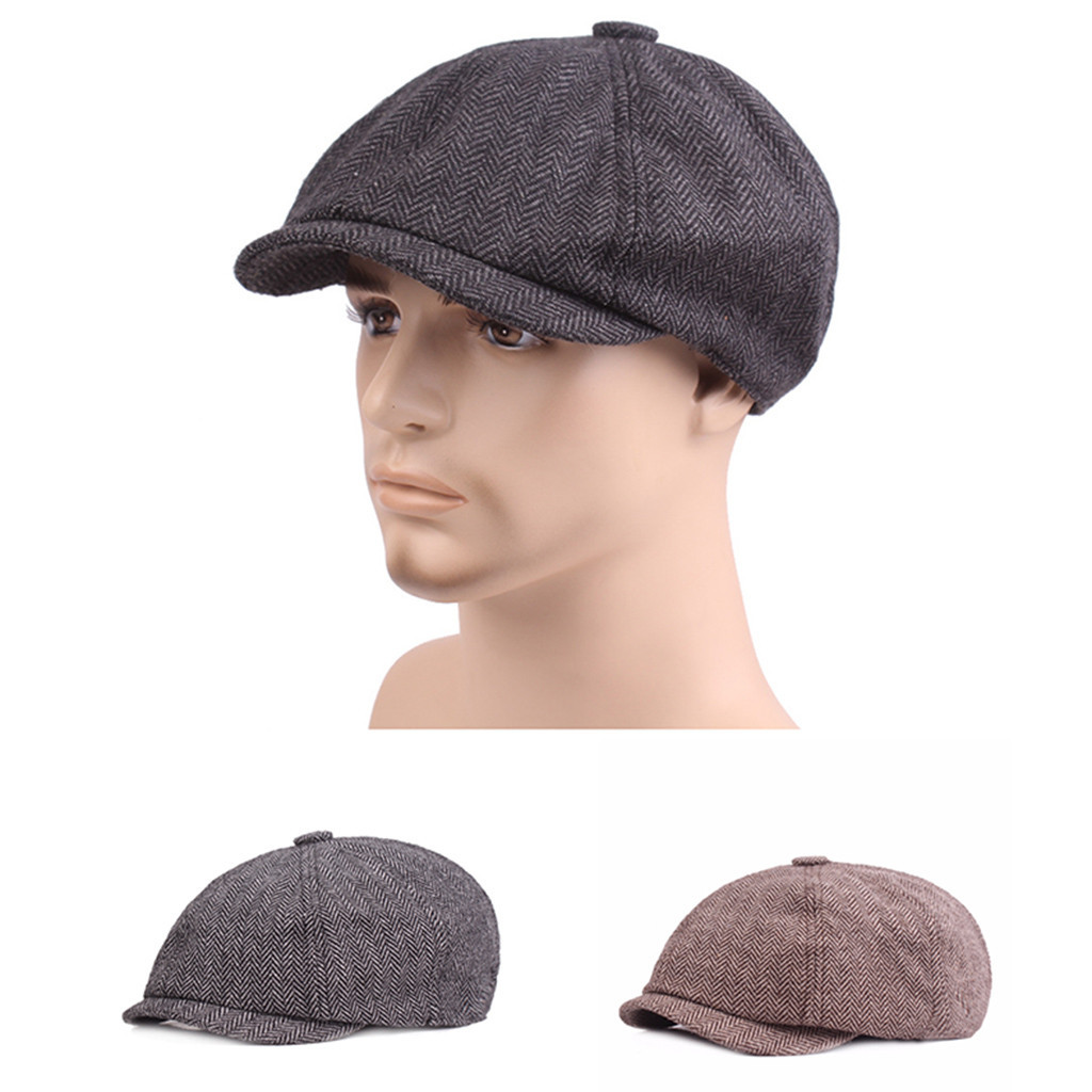 Unisex Tweed herringbone Gatsby Cap Men Woolen Vintage Beret Hat Black Mens Ladies Flat Panel Baker Boy Newsboy Winter Retro