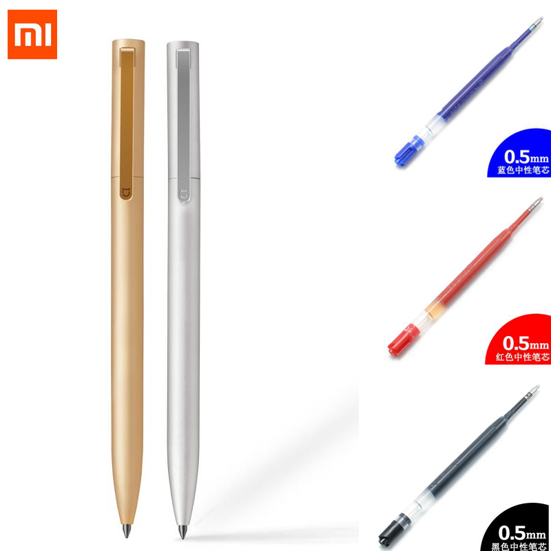 Original Xiaomi mijia Metal Pen 0.5mm Signing Pen ,OEM brand replacement refill ink black blue red high quality for mi metal pen screw extractor