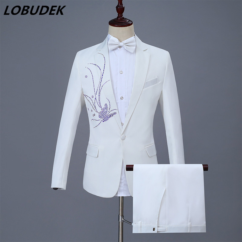 Adult Male Suit Costume Wedding MC Host Evening Party Prom Stage Outfit Bar Singer Choru ...