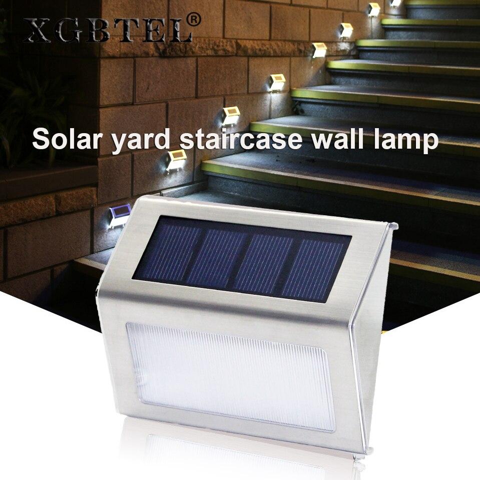 Luces solares XGBTEL luces de escalera Solar luces de esquina LED luces de jardín al aire libre Mini luces de pared Solar 2 unids/lote