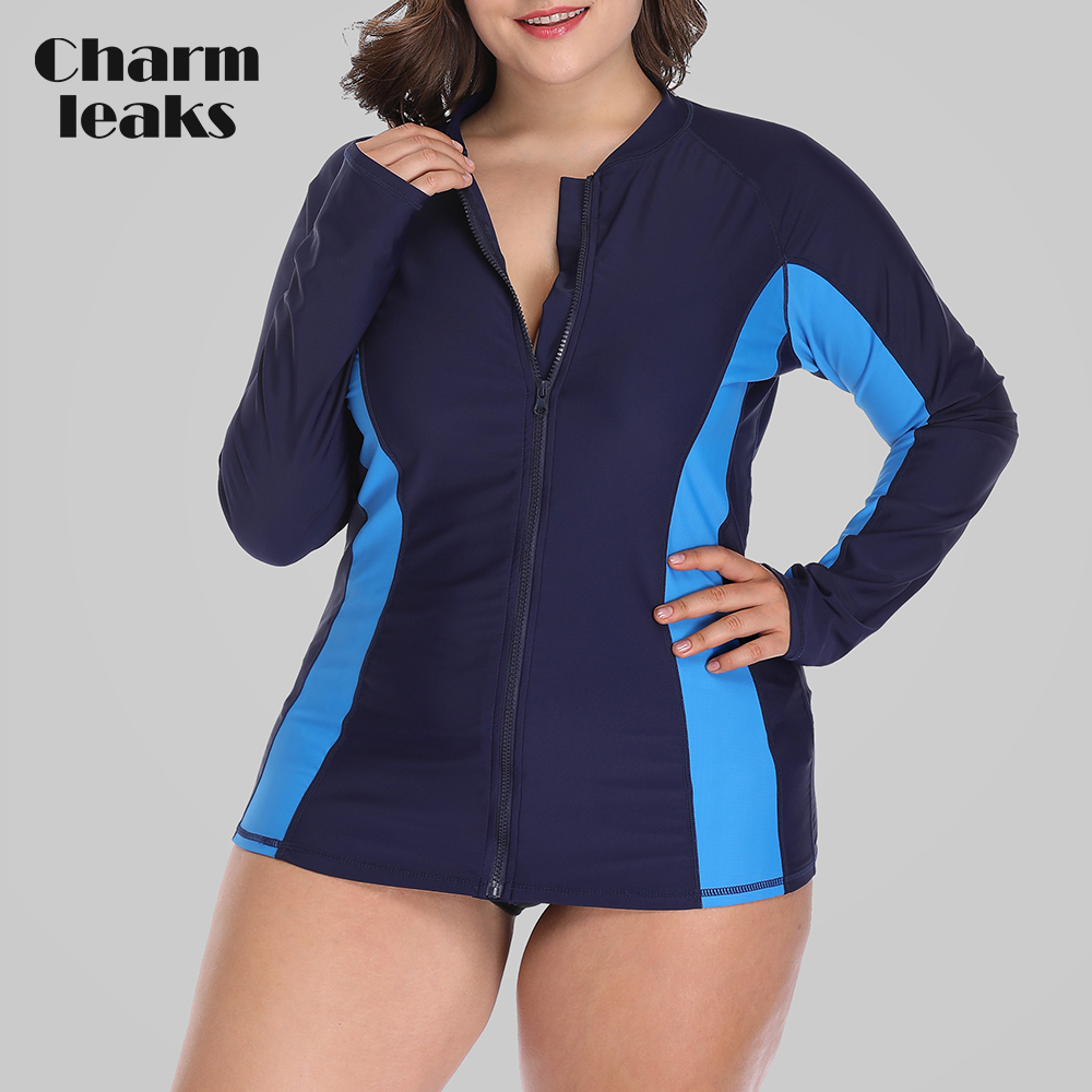 Womens Plus Size Swimwear Uv-protection Rash Guard Finely Processed Genteel Charmleaks Women Long Sleeve Rashguard Zipper Swimsuit Shirts Upf50 Shorts