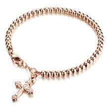 New Design Bead Chain Cross Women Bracelet Stainless Steel Lady Female Charm Bracelet Christmas Romantic Gift For Girlfriend