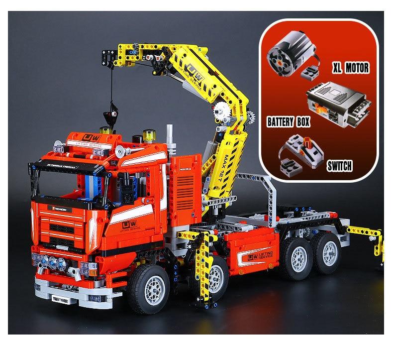 Lepin 20013 1877pcs Technic Ultimate Mechanical Series The Electric Crane Truck Set Building Blocks Bricks Model toys Gifts 8258