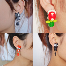 2015 New Summer Style Fashion Handmade Polymer Mario Clay Fox Plant Earrings Stud for Women Aretes Oorbellen Bijoux
