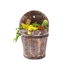Caioffer Modern Flowerpot Semicircle Shape Garden Wooden Flower Pots Decorative Wall Hanging Planters For Balcony Home