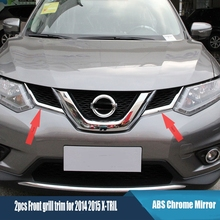 цена на ABS chrome Front grille decoration cover trim stickers case for nissan x-trail x trail xtrail T32 Rogue 2014 2015 accessories