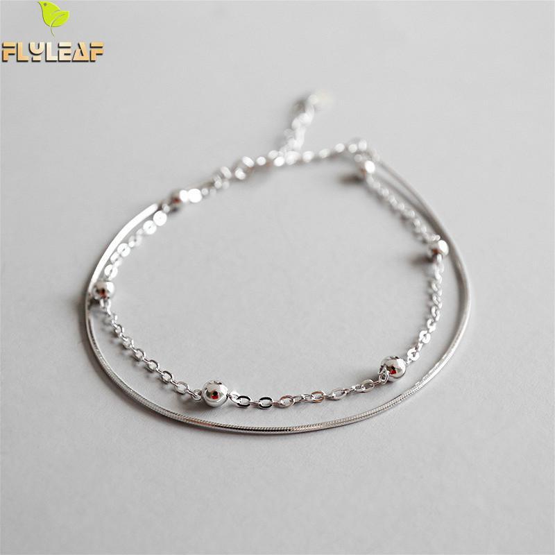 Flyleaf 925 Sterling Silver Anklets For Women Absorbing Beads Double Layer Fashion Ol Simple Ankle Leg Fine Jewelry Enkelbandje