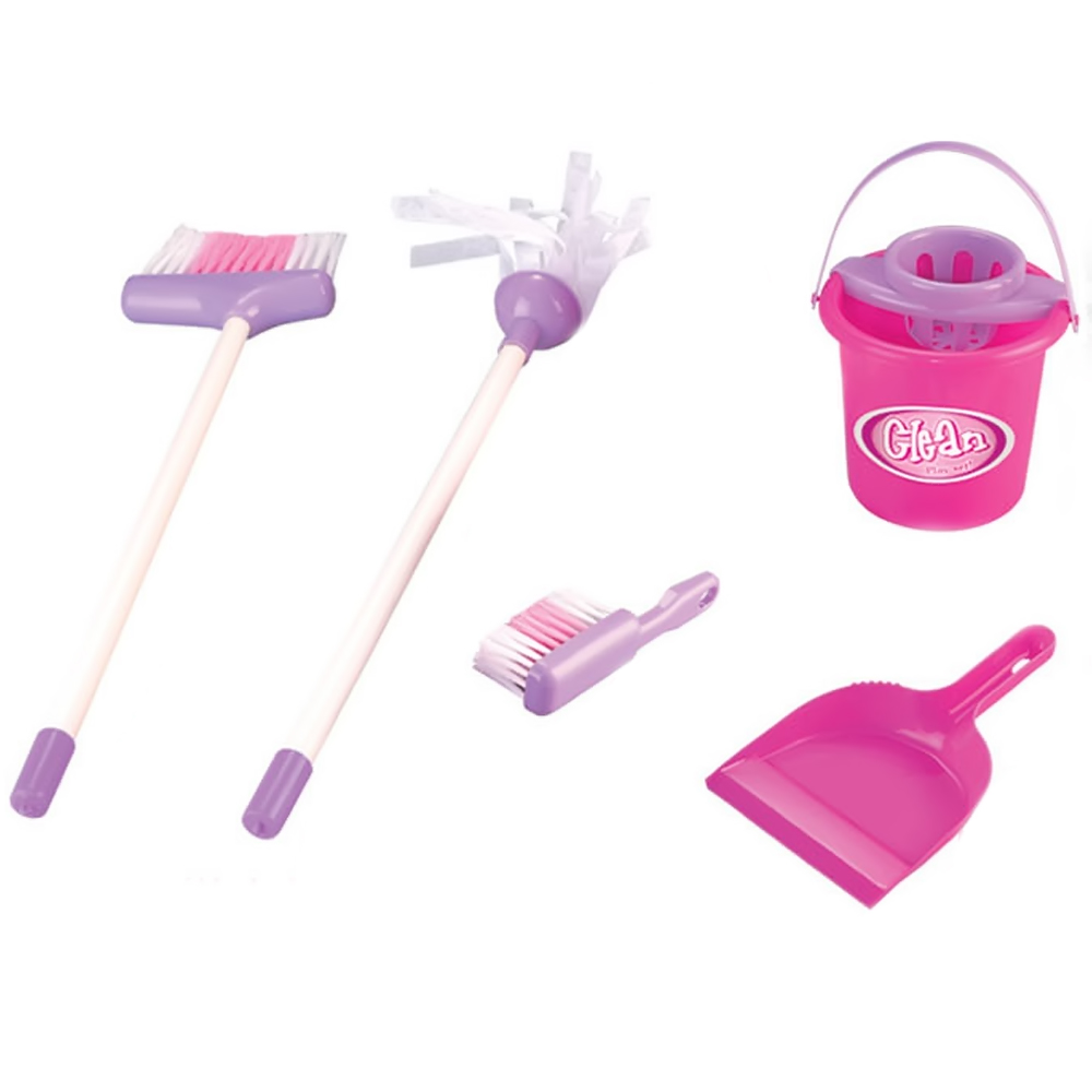 5 PCS New Toy Set Kids Children Housekeeping Cleaning Play Toy Set Broom/Mop/Bucket/Dustpan Housekeeping Role Play Education Toy