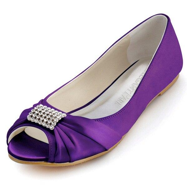 EP2053 Purple Women Wedding Ballets Falts Peep toe ribbon tie Rhinestone Satin lady girl Evening Party Bridal Shoes White Ivory
