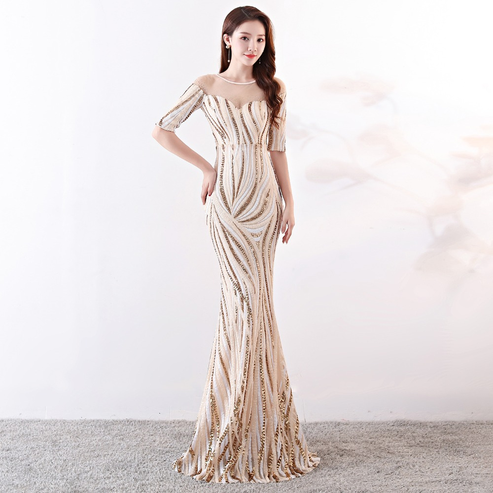 Elegant Crystal Beaded See Through Voile Shor Sleeve Mermaid Long Formal Dresses For Women 2018 Sexy Nightclub Wear Party Dress (10)