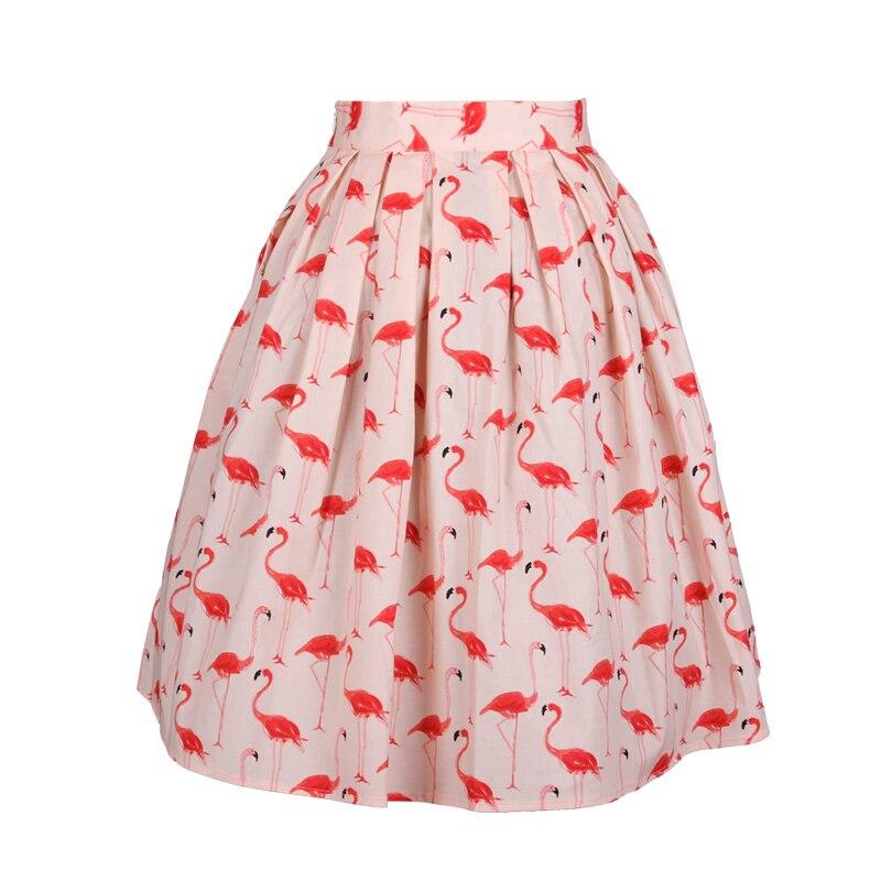 40- vintage 50s pink flamingo print pleated skirt rockabilly pinup skirts  plus size faldas saia ec660edb2ea8