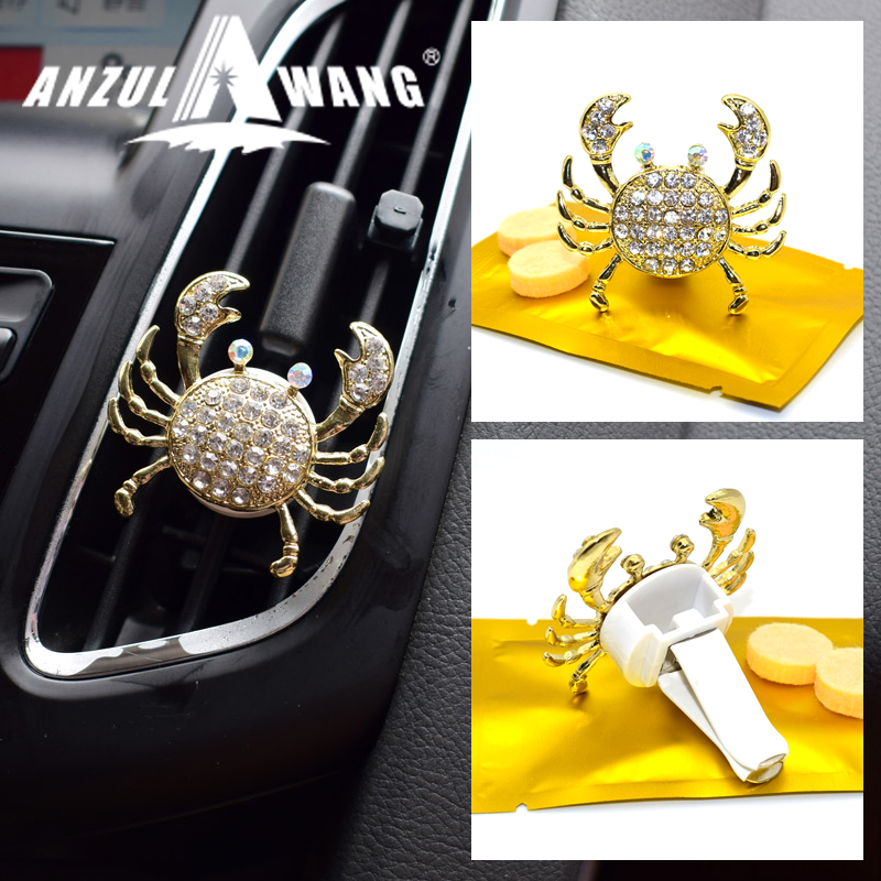ANZULWANG Diamond Crab Shiny Car Modeling Air Freshener Car Air Conditioning Vent Fashion Style Crystal Car Air Exit Perfume