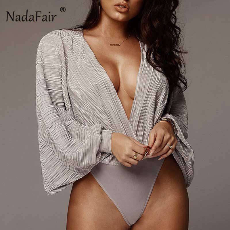 Nadafair Deep V Flare Sleeve Bodysuit Women Long Sleeve Elegant Bodysuits Romper Spring Autumn Casual Long Sleeve Body Female