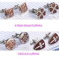 2 pares/lote Excelente Qualidade Gemelos Abotoaduras Aço Inoxidável Jacarandá Cufflings Bonito de Madeira Vermelha 361