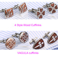 2pairs/lot  Excellent Quality Red Wood Cufflinks Stainless Steel Rosewood Cufflings Bonito Gemelos 361