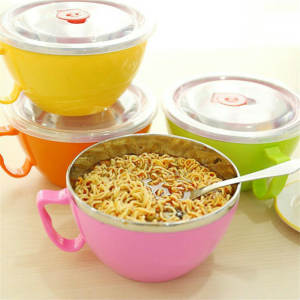 Noodle-Bowl Lid-Handle Food-Container Rice-Soup Stainless-Steel Plastic Leak-Proof 600ml