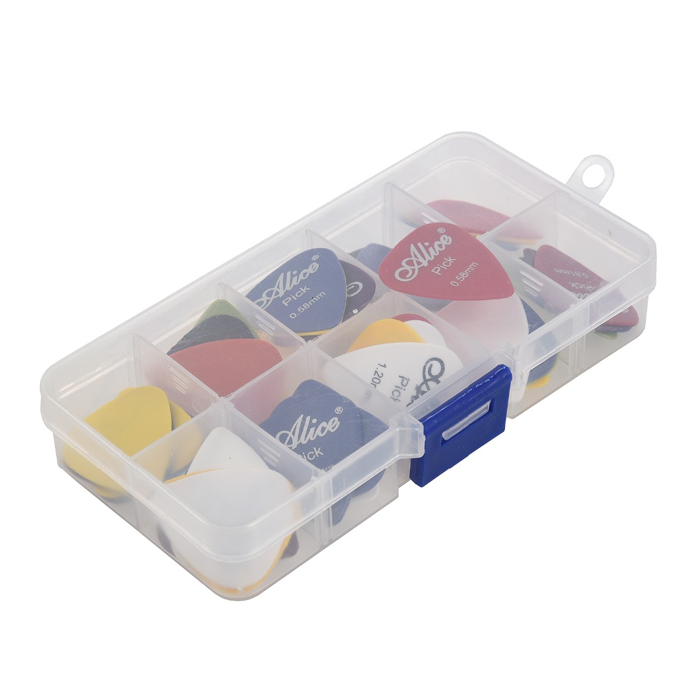 Alice Guitar Pick 1 box case 40 Pieces Alice acoustic electric bass  plectrum mediator guitarra musical instrument mix 0.58-1.5  sews guitar picks 12 colorful plectrum in one cute round metal box acoustic electric musical instrument guitar pick