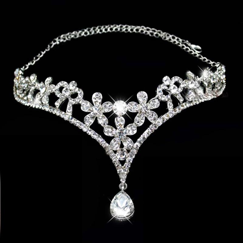Silver Color Crystal Indian Hair Accessories Head Jewelry Rhinestone Forehead Head Pieces Wedding Tiaras Bridal Hair Chain
